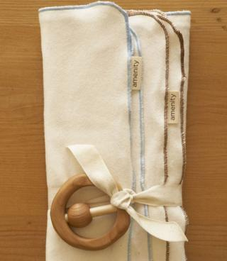 Organic Baby Cloths + Rattle:  $30